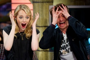 Noted Tigers fans Emma Stone and Andrew Garfield could barely stand to watch!