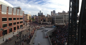 Folks ready to celebrate in downtown Detroit.