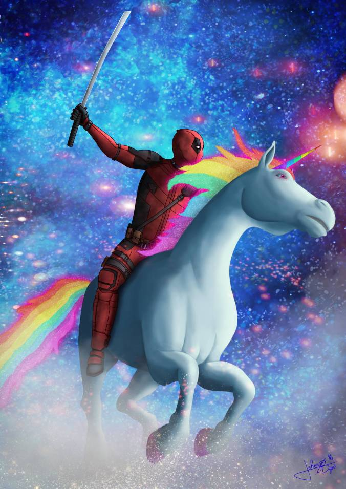 Deadpool on a Unicorn